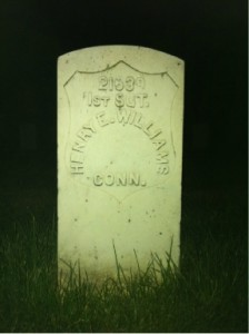 1st Sergeant Henry E. Williams grave marker at Arlington National Cemetery.