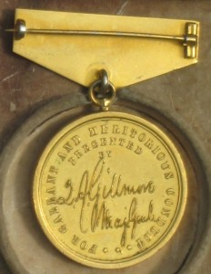 Reverse of a Gilmore Medal awarded to a soldier with the 6th CVI.
