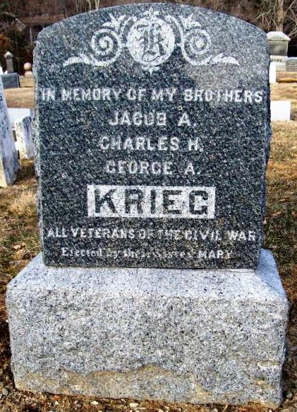 This is a marker commemorating the Civil War service of Jacob Krieg's 3 sons, erected by their sister.